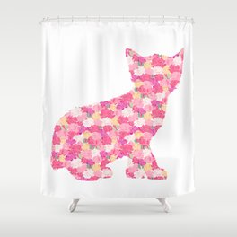 Kitten Silhouette with Peony Flowers Inlay Shower Curtain