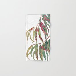 A touch of red - watercolour of eucalyptus branch Hand & Bath Towel