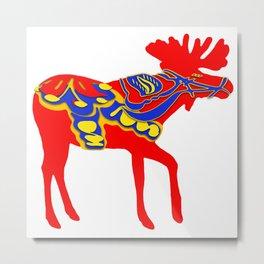 Graphic Moose 01 Swedish Dala Male Metal Print
