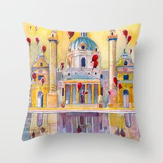 Vienna, famous Karlskirche saint Charles Church Throw Pillow
