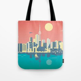 Toronto City Skyline Art Illustration Tote Bag
