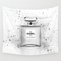 perfume Wall Tapestries featuring Black and White Perfume by SuisaiGenki