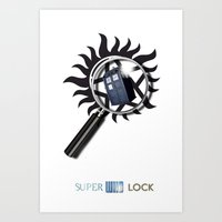 superwholock Art Prints featuring SuperWhoLock Poster Print by Particularly Peculiar
