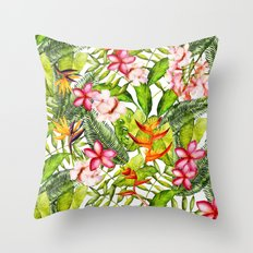 My Aloha Tropical Flower Hibiscus Garden on #Society6 Throw Pillow
