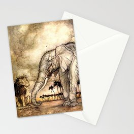 An Elephant and A Lion - Vintage Artwork Stationery Cards