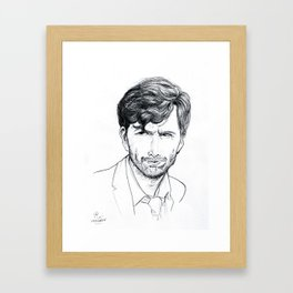 David Tennant as Broadchurch's Alec Hardy (or Gracepoint's Emmett Carver) Etching Framed Art Print
