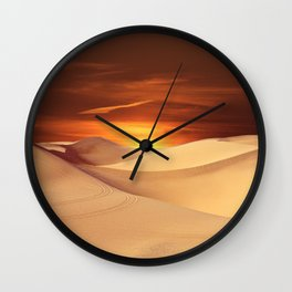 The Sunset On Desert Wall Clock