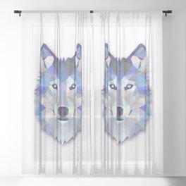 POLYGON WOLF HEAD Sheer Curtain