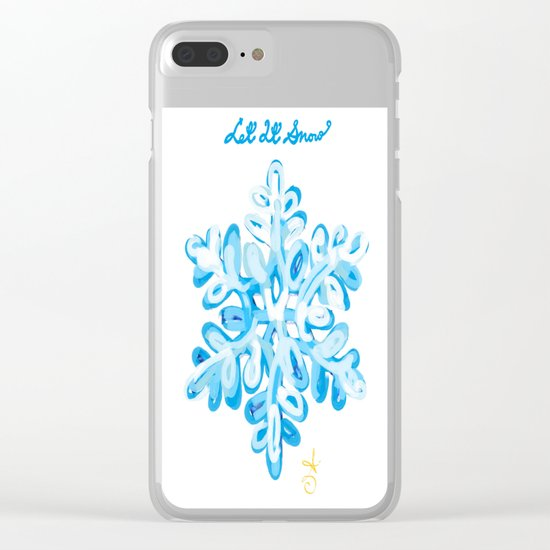 Let It Snow Snowflake Painting Clear iPhone Case