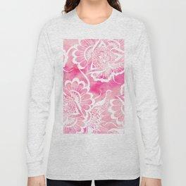 Modern boho pink watercolor white floral mandala  pattern Long Sleeve T-shirt