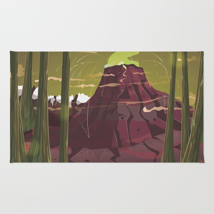 Erupting Volcano in the Swamp Cartoon Rug