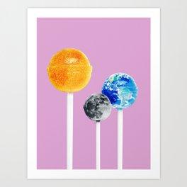 SUN MOON EARTH LOLLIPOPS Art Print