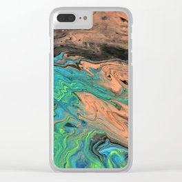 Earth & Water theme abstract acrylic art Clear iPhone Case