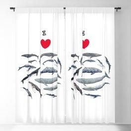 I love whales design Blackout Curtain