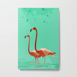 Flamingos on Sea Green Metal Print
