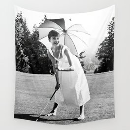 Audrey Hepburn Playing Golf, Black and White Vintage Art Wall Tapestry