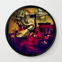 t rex Wall Clocks featuring T Rex by Carsick T-Rex