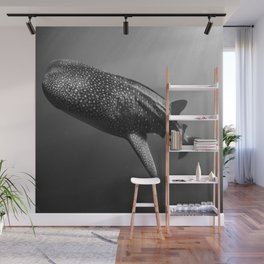 Whale shark black white Wall Mural
