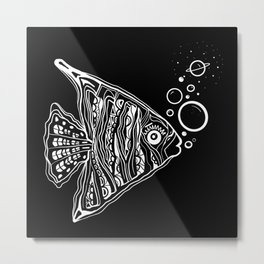 Fishin Through Space Metal Print