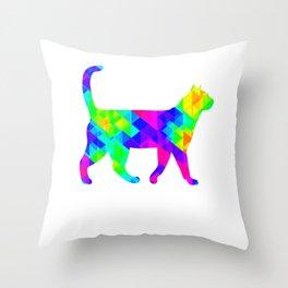 Rainbow Square Cat Inverted 1 Throw Pillow