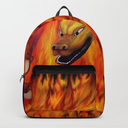 Red Dragon Claw in flames Backpack
