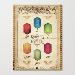 Legend of Zelda - The Rupees of Hyrule Kingdom Guide Canvas Print
