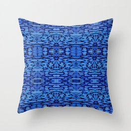 Cobalt Ikat Watercolor Pattern Throw Pillow