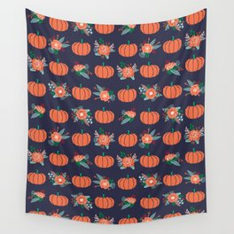 Pumpkin florals cute pattern pillow home decor dorm college seasonal fall autumn Wall Tapestry