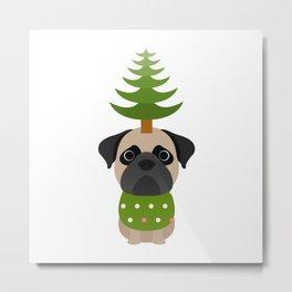 Cristmas dog   green   Pug Dog Metal Print
