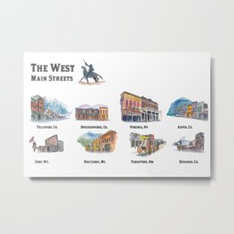 USA Wild West Towns Main Streets - Telluride, Breckenridge, Aspen & Co. Metal Print