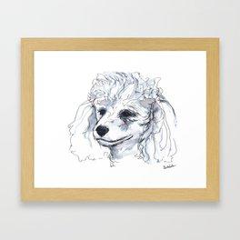 Poodle (portrait for my mom), watercolor Framed Art Print