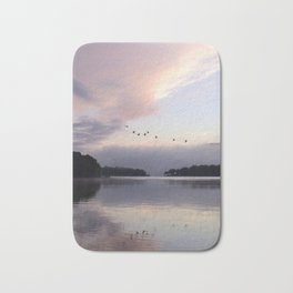 Uplifting III: Geese Rise at Dawn on Lake George Bath Mat