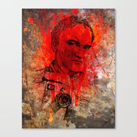 quentin tarantino Canvas Prints featuring Quentin by Rabassa