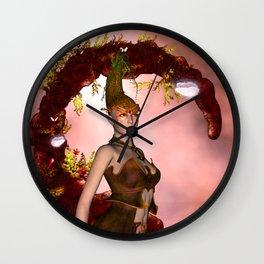 Beautiful fairy with butterflies Wall Clock