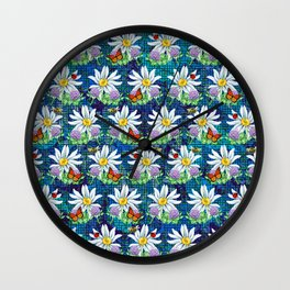 Flowers and bugs pattern Wall Clock
