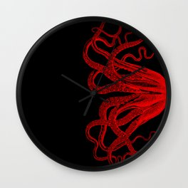 Red Vintage Octopus  Tentacles Illustration Wall Clock