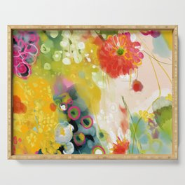 abstract floral art in yellow green and rose magenta colors Serving Tray