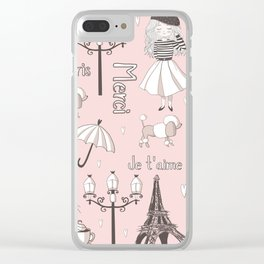 Paris Girl - Pink Clear iPhone Case