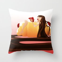 Strawberry Croissant Throw Pillow