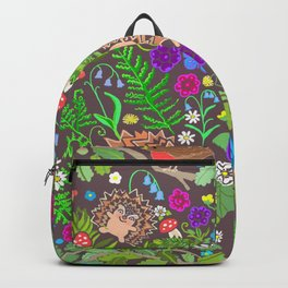 Hegehog fall forest, rainbow flowers and robins Backpack
