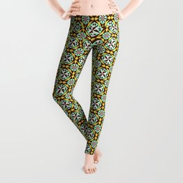 Barcelona cement tile in yellow, brown and blue Leggings