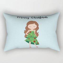 I am a Christmas Girl - Christmas tree inspired Rectangular Pillow