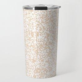 Tiny Spots - White and Pastel Brown Travel Mug