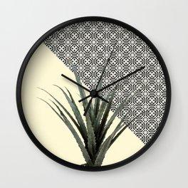 Dracaena Plant on Lemon and Lattice Pattern Wall Wall Clock