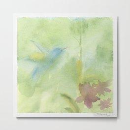 Hummingbird Selah - Sage Green Metal Print
