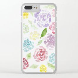 Colorful Roses Clear iPhone Case
