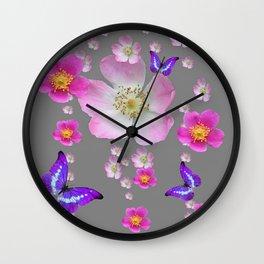 PURPLE BUTTERFLIES & PINK ROSES MONTAGE Wall Clock