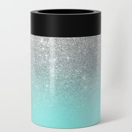 Modern girly faux silver glitter ombre teal ocean color bock Can Cooler