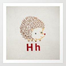 H Hedgehog Art Print