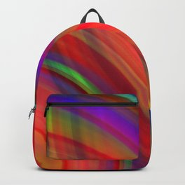 Interweaving curved semicircles with a crisp bloody accent and all the colors of the rainbow. Backpack